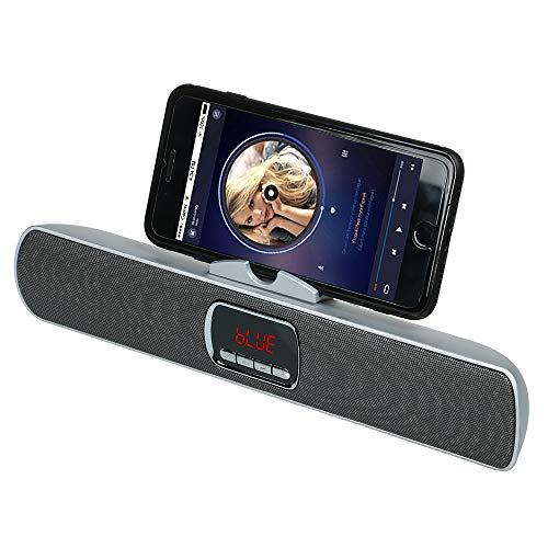 KawKaw Bluetooth Speaker mit Mikrofon & Smartphone-Halterung - Kabellose Lautsprecher für Smartphone & Tablet - Wireless Portable Soundsystem für Musik, Party und Heimkino (Silber)