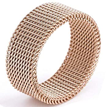 LWLH Jewelry Womens 925 Sterling Silver Plated Fashion Weave Braided Mesh Korean Style Ring Wedding Band Size 9