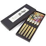 5 Paar Japanische Sushi-Stil Essstäbchen Geschenk-Set Bambus Essstäbchen-Set