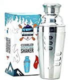 Cocktail Shaker with Recipes on Side Stainless Steel - Shaker Cup for Cocktails - Liquor Shaker - Martini Shaker and Strainer Built-In - Margarita - Mojito Drink Mixer for Home and Travel Mixology