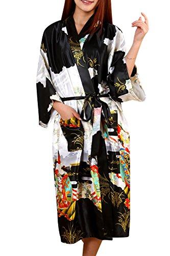 Dolamen Donna Kimono Vestaglia Pigiama Sleepwear, Raso di Seta del Geisha e Fiori Robe Accappatoio Damigella d'Onore da Notte Pigiama, Stile Lungo & 2017 di Nuovo Stile (Small, Nero)