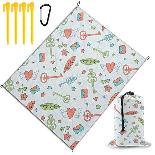 Buy Discount Outdoor Picnic Blanket 67x57inch Cartoon Leaves, Keys and Winged Love Foldable Waterpro...