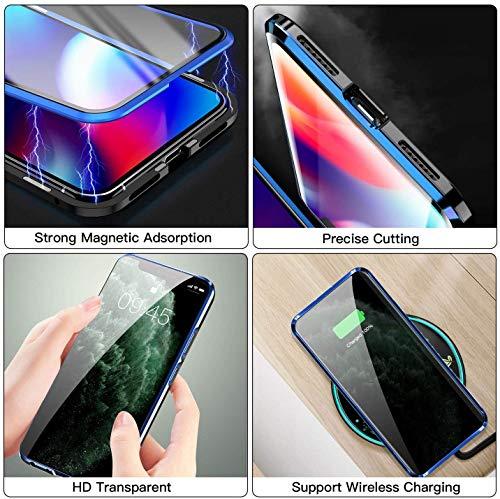 Kompatibel mit Huawei P40 Pro Hülle, Schutzhülle Magnetische Adsorption Metallrahmen und Panzerglas Handyhülle Ultra Slim Dünn Durchsichtig Transparent 360 Grad Full Body Protection - Nachtgrün - 6