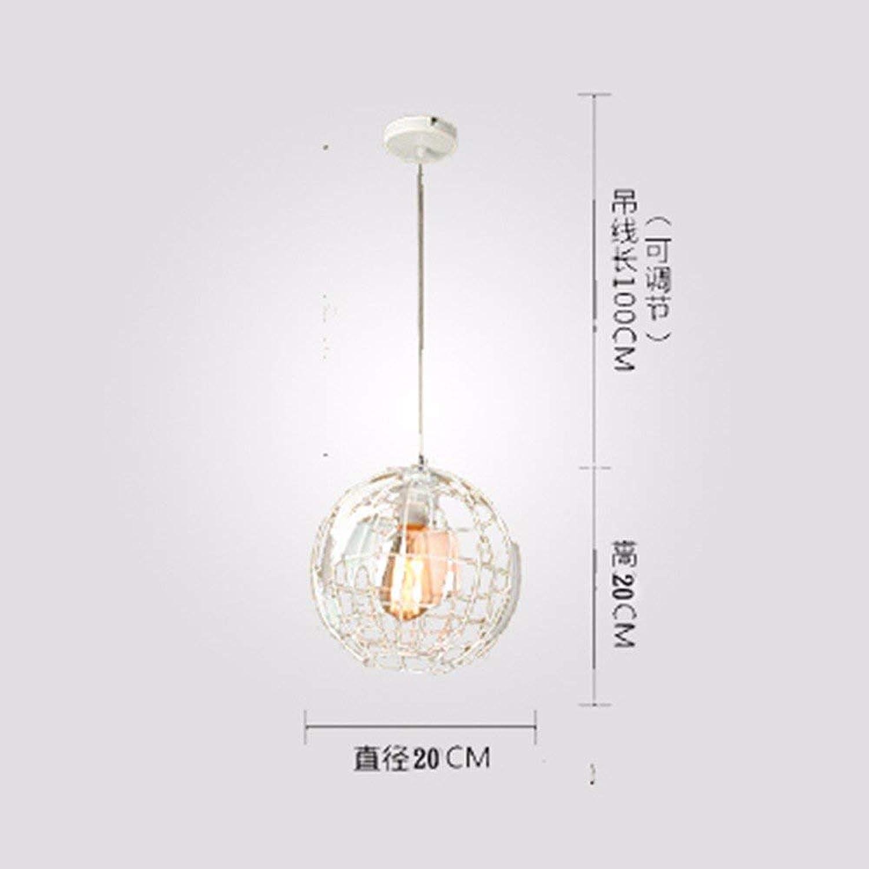 ●  Suspension Lampe Lustre Restaurant Lumière Nordique Moderne Simple Créatif Bar Lampe De Fer Café Globe Blanc Led 4W 20Cm ●