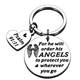 Bible Verse Keychain Christmas Religious Faith Gifts for Women Men Easter Prayer Christian Keyring for Him Her Bible Verse for He Will Order His Angels to Protect You Wherever You Go Thanksgiving