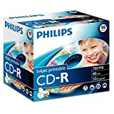 Philips CD-R Rohlinge 80Min 700MB 52x bedruckbar 10er Pack Jewel Case