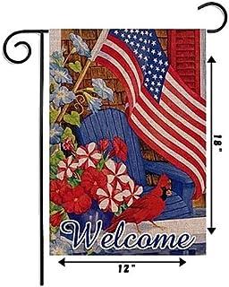 LATDELDIS America Flag Small Garden Flag Vertical Double Sided 12 x 18 Inch Floral Beach Burlap Yard Outdoor Decor…