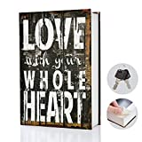 wishacc Real Pages Portable Secret Book Hidden Safe with Key Lock Book Safe - Hollowed Out Book with Hidden Secret Compartment for Jewelry, Money and Cash