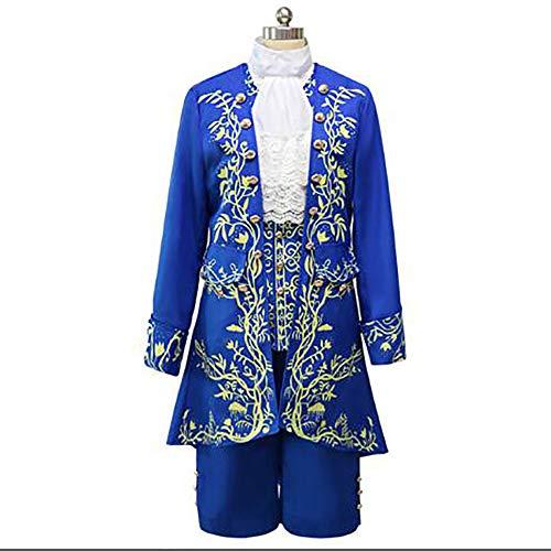 Evin La Bella y la Bestia príncipe Azul Uniforme Fiesta de cumpleaños Vestido aristocrático de Cosplay Traje de Boda de los Hombres,XL