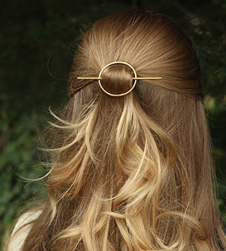 FDesigner Vintage Circle Round Hair Clips Geometric Decorative Hoop Hair Accessories Jewelry for Women and Girls (Gold)