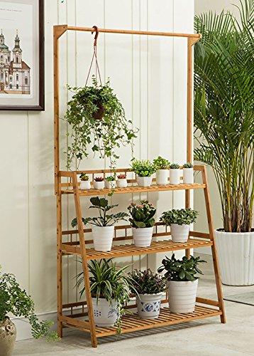 Support de fleur en bois léger/étagère de jardin intérieur/extérieur/Escalière 3F Escalier/Pots/Présentoir de fleurs de plantes Capacité d'appui élevée (Couleur : 60 cm)