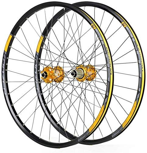 LIMQ Ruedas De Ciclismo para 26 27.5 29 Pulgadas Bicicleta De Montaña Juego De Ruedas Aleación Doble Pared Liberación Rápida Freno De Disco Compatible 8-11 Velocidad,Gold-29inch