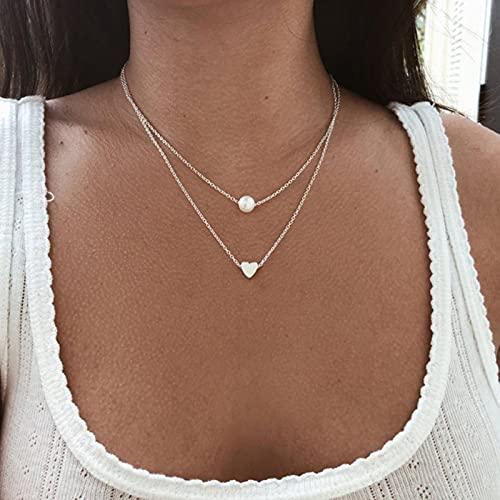 Bohemia Simple Moda imitación Perla Amor corazón Doble Capa clavícula Cadena Collar Accesorios joyería Femenina
