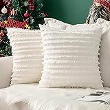 MIULEE Lot de 2 Decorative Housse de Coussin Coton Mélangés Décoratif Protecteurs de Coussin Lin Canapé Home Decor Taie d'oreiller Classic Décoration de la Maison 45 * 45cm Blanc