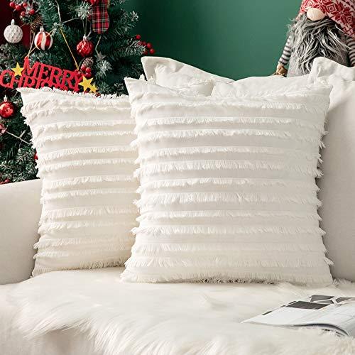 MIULEE 2er Set Weihnachten Dekorative Kissenbezug mit Tassel Fransen Dekokissen Boho Super Weich Kissenbezüge Quaste Decor Kissenhülle für Sofa Couch Schlafzimmer Wohnzimmer 18X18inch 45x45cm Weiß