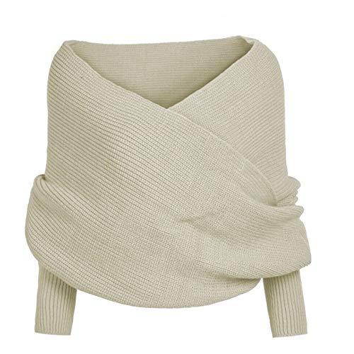 MENGCI Knit Winter Rood Houd Warm Dames Effen Kleur Sjaal Mouw Haak Lange Zachte Sjaal