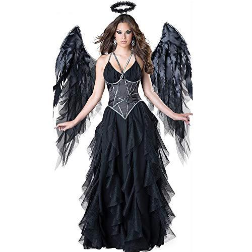 Vestido de ngel cado Disfraz Carnaval de Halloween Fantasa ngel oscuro Diablo Alas de hada Disfraz Vestidos Falda Mujer Encaje misterioso negro Sexy Vampiro Cos Uniforme