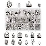 Beadthoven 120Pcs 14 Styles Tibetan Silver Glue in Leather Cord End Tassel Caps Column Barrel Loop Clasps Connectors with Jump Rings & Lobster Claw Clasps for Jewelry Making