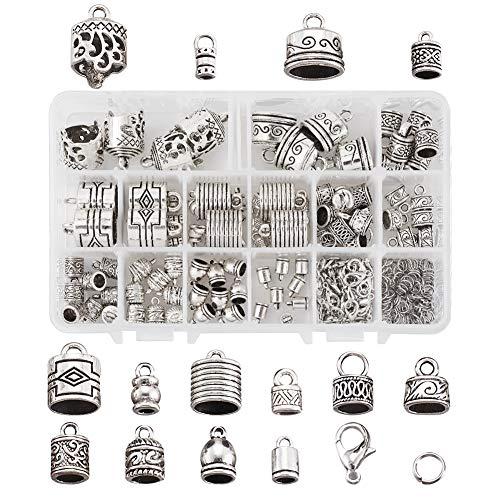 Craftdady 120 piezas de pegamento tibetano de plata envejecida en extremos de cordón de cuero, 14 estilos de barril, borla, extremos para pulseras Kumihimo