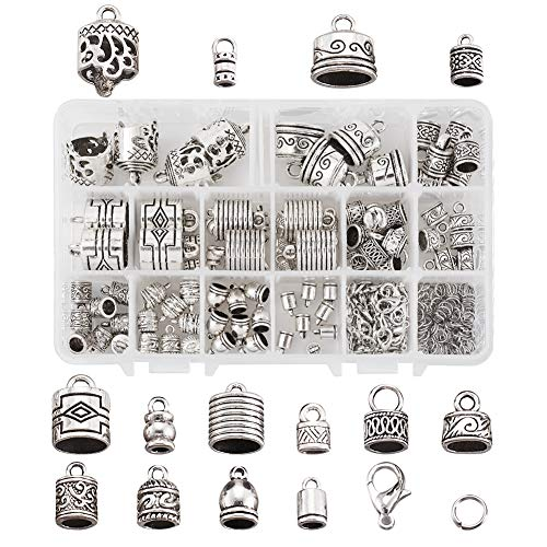 Beadthoven 96pcs Tibetan Silver Cord Ends Cap 14 Styles Glue in Leather Cord End Column Barrel Loop Clasps with Jump Rings & Lobster Clasp for Jewelry Making