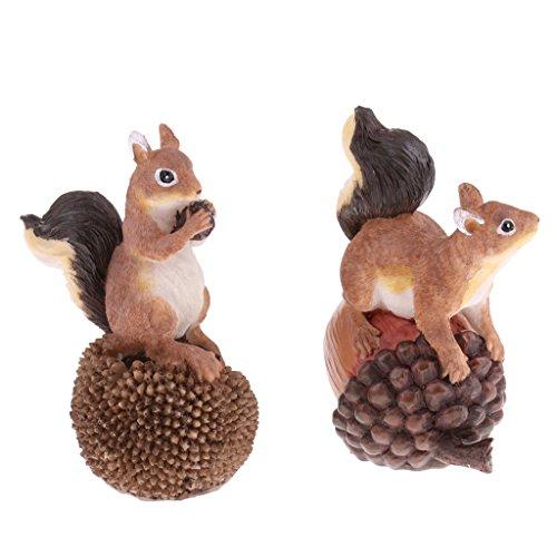 MagiDeal Handgemachter Harz Tiermodell Gartenfigur Dekofigur Statue Gartendekorationen - Eichhörnchen
