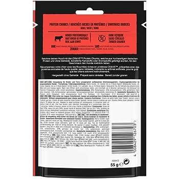 Crave Protein Chunks - Récompenses à croquer au Bœuf - Friandises pour Chien, lot de 6 x 55 g