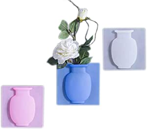 Coxeer Silicone Vases 3PCS Silicone Vase Wall-Mounted Creative Multifunctional Magic Vase for Bathroom