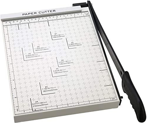 A4 Papierschneider Papierschneidemaschine mit Metallbasis, Fotoschneider Hebelschneider Schneidegerät 300mm Schnittlänge 10 Blatt Papier für zu Hause oder im Büro