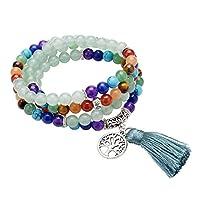 CrystalTears 108 Perlen Edelstein Yoga Armband Chakra Wickelarmband Buddha Tibetische Gebetskette Healing Reiki Stein Mala Kette Halskette mit Lebensbaum Anhänger (Aventurin)