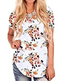 White Floral Tops for Women Short Sleeve V Neck Shirts Summer Fall Tunics M