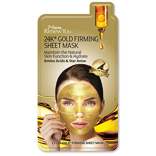 7th Heaven Renew You 24K* Gold Firming Sheet Mask with Amino Acids and Star Anise to Maintain and Hydrate Skin