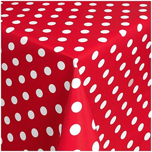 TEXMAXX Wachstuchtischdecke Wachstischdecke Wachstuch Tischdecke abwaschbar (150-01) - 160 x 140 cm - PVC Tischdecke abwischbar, Punkte Muster in Rot-Weiss