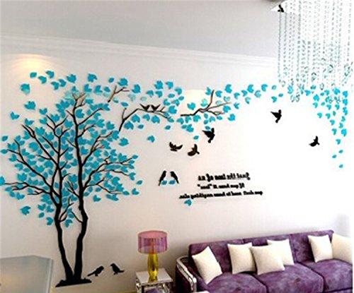 DIY 3D Riesiger Baum Paar Wandtattoos Wandaufkleber Kristall Acryl Malen Wanddeko Wandkunst (L, Blau, Recht)