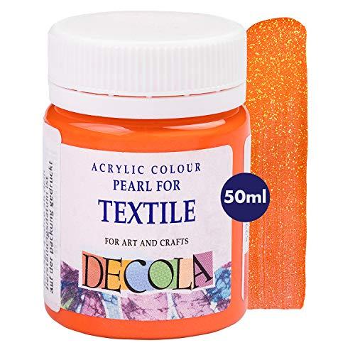 Decola | Colori per Tessuti permanenti | Colori Glitter | Colore Arancione | Vernice Tessuti | atossici e Resistenti ai lavaggi | Pittura per Tessuti permanenti | da Neva Palette