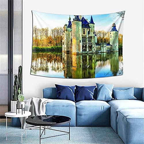 Tapiz de castillo medieval de cuento de hadas, decoración del hogar, regalo, decoración del dormitorio, sala de estar, divisor de puerta, balcón, 152,4 x 101,6 cm