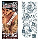 Tinsley Transfers Prison 18 and Life Temporary Tattoo FX Costume Kit (14 Piece), Black/White