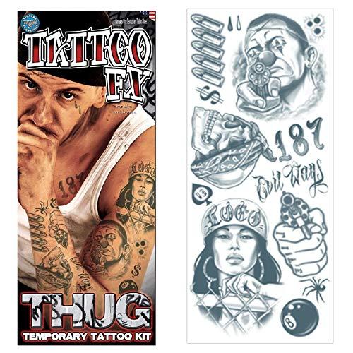 Tinsley Transfers Prison 18 and Life Temporary Tattoo FX Costume Kit (14 Tattoos), Black/White