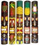 Great for any tiki bar, pool, deck or lanai area Outdoors or indoors, please note flower might be different colors. One mask might be different than pictured. Awesome gift for anyone Approx. 40 inches Add a piece of tropical paradise to your home. (s...