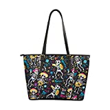 Women's Leather Handbags Shoulder Tote, Day of the Dead Skeletons Colored, Top Handles Bag Purse for School Travel