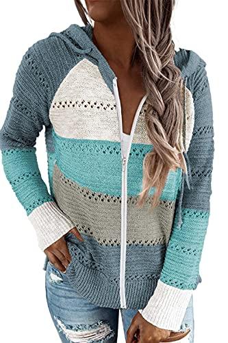GOLDPKF Pullover Damen Elegant Wintermantel Damen Trainingsanzug Damen Sommer Langarmshirt Damen Hoodies Hohler Pullover Gestreift Farbanpassung Sweatshirt Hoodie Blau M 40-42