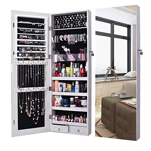 ANLW Bijoux Armoire Grand Miroir Armoire Organisateur Miroir Mur Porte monté Organisateur Rangement, Blanc