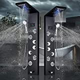 Product Image of the Rozin Black New LED Light Watefall Rainfall Shower Panel Faucet Wall Mount Bathroom Three Handles Shower Tower with Massage Jets and Hand Sprayer Head