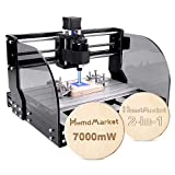 【2 en 1】Machine de Gravure CNC 3018 Pro Max GRBL Contrôle 3 axes PCB Fraiseuse en bois Routeur avec contrôleur en ligne XYZ Portée de travail 300 x 180 x 45 mm (7W)