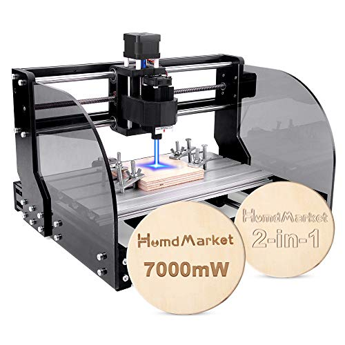 【2 en 1】CNC DIY 3018 Pro Max GRBL Control DIY Mini Machine, Fresadora de PCB de 3 ejes, Enrutador de madera Grabador con controlador fuera de línea Área de trabajo (7W)