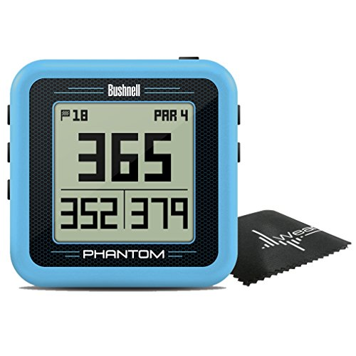 Bushnell Phantom Compact Handheld Golf GPS with Built-in Golf Cart Magnet and Wearable4U Cleaning Towel Bundle (Blue)