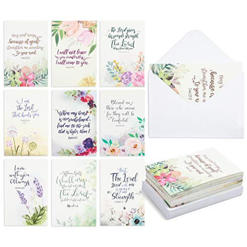 Religious Sympathy Cards with White Envelopes, Watercolor Floral Design (4 x 6 In, 36 Pack)