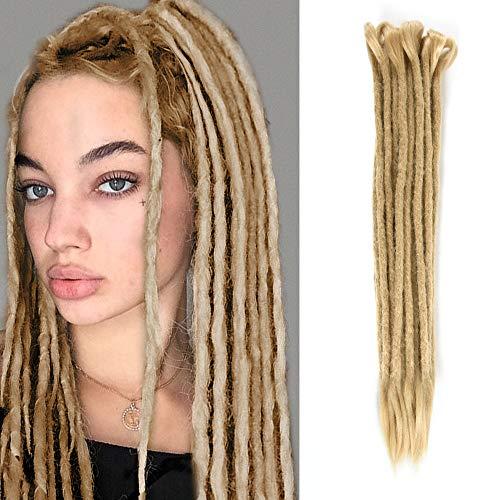Dsoar Double Ended Dreadlocks Extensions 20 Inch 10 Strands Synthetic Dreads Handmade Crochet Dread Extensions Reggae Twist Braiding Hair(40 inch,Deep Blonde)