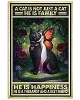 金属マークレトロな猫だけではなく、彼は教師であり、セラピストである錫マーク新年イースター壁装飾バーバーホームカフェマーク男の洞窟友人への最高のプレゼント家族の楽しみマーク8X12インチ