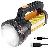 Torcia LED Ricaricabili Potente 7000LM 10-24 Ore 800M di Illuminazione, CREE LED Torcia 6600mAH Alta Potenza è Utilizzata per il Campeggio, Pesca, Passeggiate, Caccia (Tipo H, Oro)