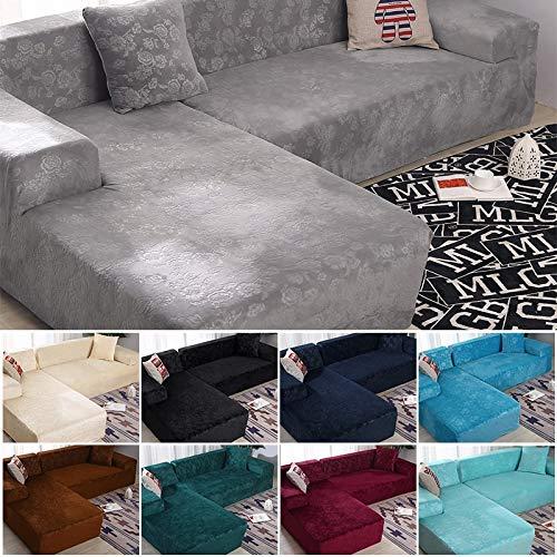 ABUKJM Funda de sofá de esquina, terciopelo bordado floral en forma de L, funda de sofá chaise longue, protector de sofá elástico para sala de estar (verde negruzco, parte A-A, 195-230 cm)